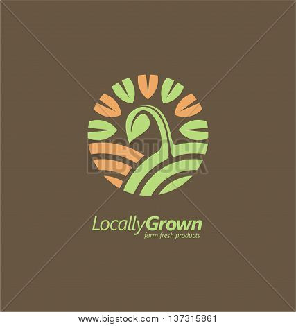 Logo design template with sprout on the field and sun shape in negative space surrounded by green leaves. Locally grown farm fresh product logo inspiration.