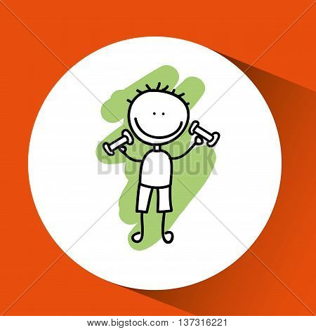 boy doing excercise under sun vector illustration