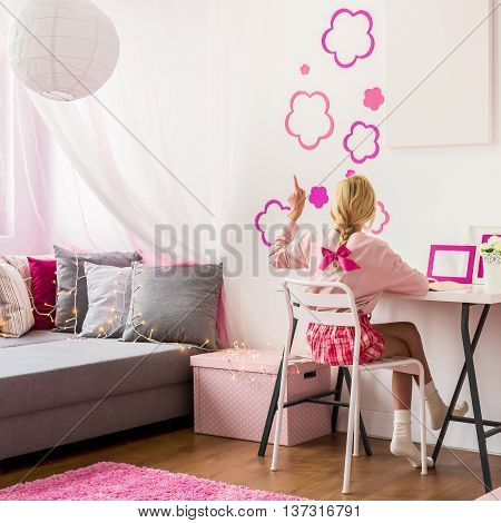 Girly Bedroom With Wall Decoration