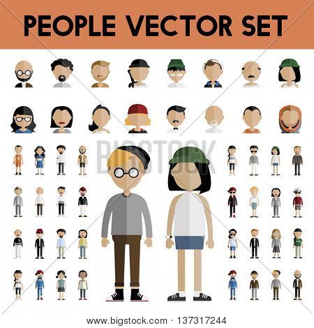Diversity Community People Flat Design Icons