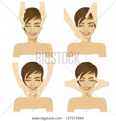 Collage of young woman in spa salon getting facial massage isolated on white background