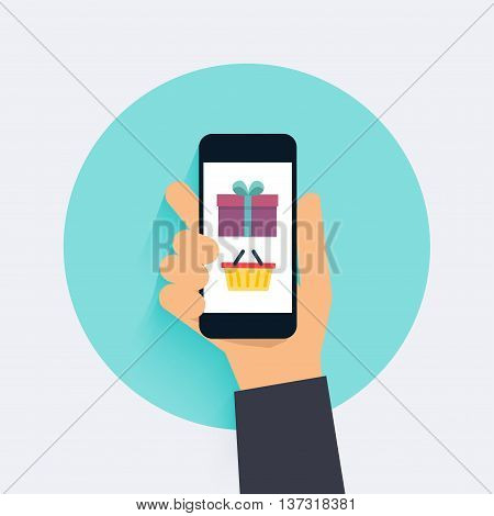 Concept Online Shopping And E-commerce. Icons For Mobile Marketing. Hand Holding Smart Phone. Flat D