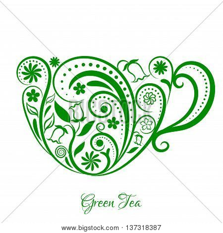 Vector Green Cup of Tea. Cup with floral design elements. Menu for restaurant, cafe, bar, tea-house. vector illustration. Green tea time.