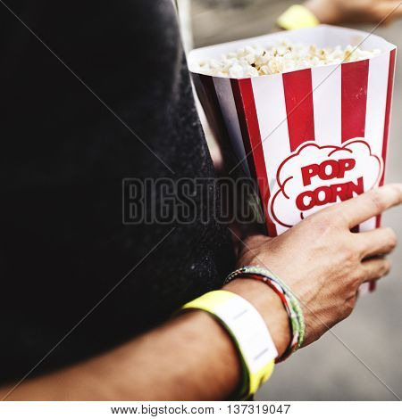 Popcorn Movie Crunchy Entertainment Concept