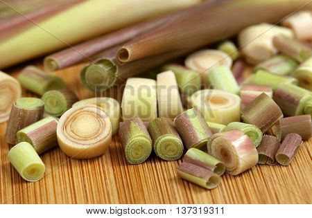 Close up of Lemongrass on wooden surface