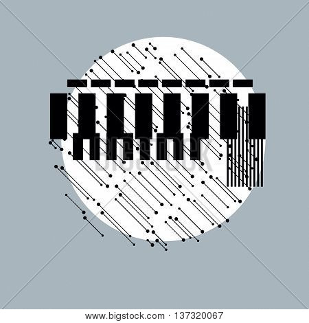 Abstract graphic art vector geometric monochrome illustration.