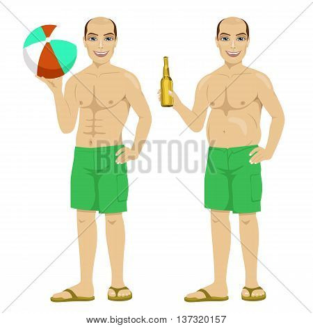 fat and slim version of the same man holding a bottle of beer and inflatable striped ball