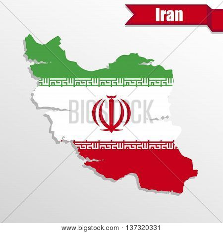 Iran map with flag inside and ribbon