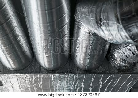 Steel ventilation pipes. The restaurant ventilation system