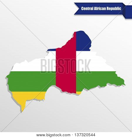 Central African Republic map with flag inside and ribbon
