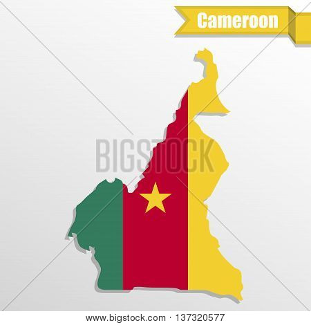 Cameroon map with flag inside and ribbon
