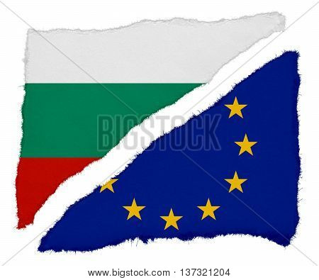 Bulgarian And Eu Flag Torn Paper Scraps Isolated On White Background