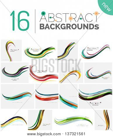 Collection of wave abstract backgrounds - color curve stripes and lines in various motion concepts and with light and shadow effects. Presentation banner and business card message design template set.