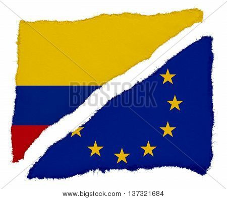 Colombian And Eu Flag Torn Paper Scraps Isolated On White Background
