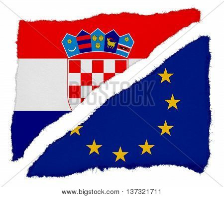 Croatian And Eu Flag Torn Paper Scraps Isolated On White Background