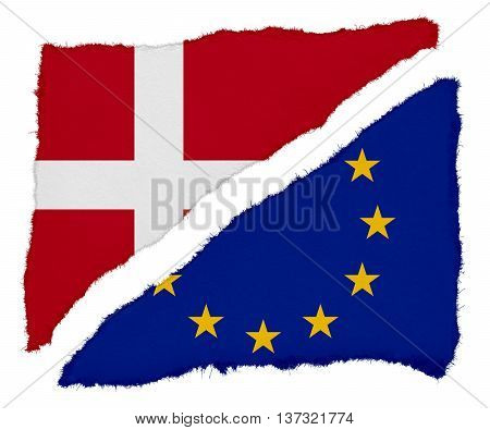 Danish And Eu Flag Torn Paper Scraps Isolated On White Background
