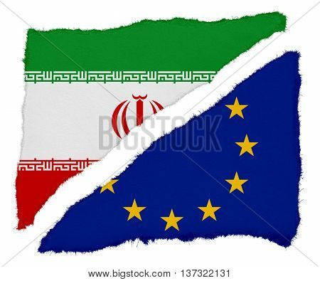 Iranian And Eu Flag Torn Paper Scraps Isolated On White Background