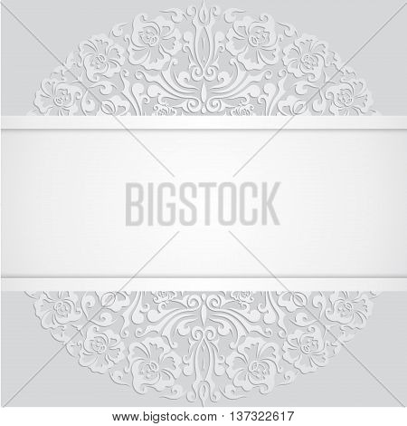 White 3d Floral Curl Background with Swirl Damask Pattern for Wedding or Invitation Card. Vector Vintage Design Template