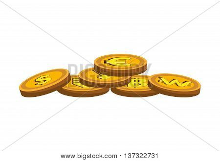 Coins in gold color isolated flat icon, vector illustration graphic.