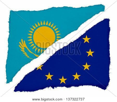 Kazakhstan And Eu Flag Torn Paper Scraps Isolated On White Background