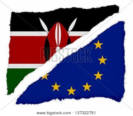 Kenyan And Eu Flag Torn Paper Scraps Isolated On White Background