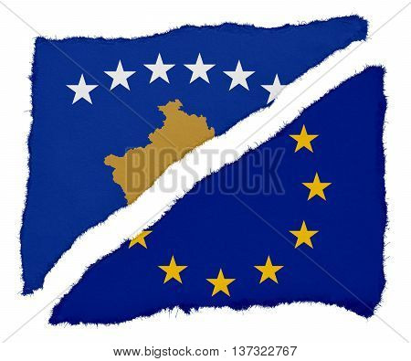 Kosovan And Eu Flag Torn Paper Scraps Isolated On White Background