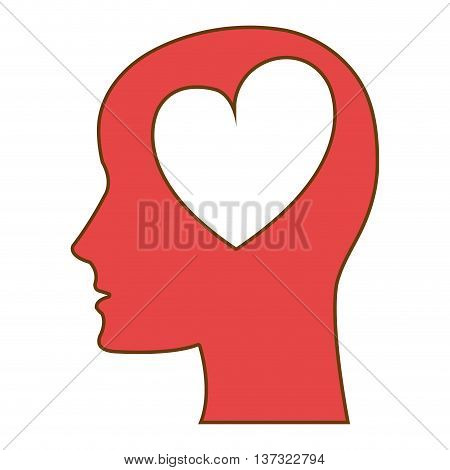 Red human head silhouette, with a heart shape icon.
