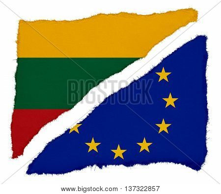 Lithuanian And Eu Flag Torn Paper Scraps Isolated On White Background