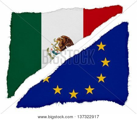 Mexican And Eu Flag Torn Paper Scraps Isolated On White Background