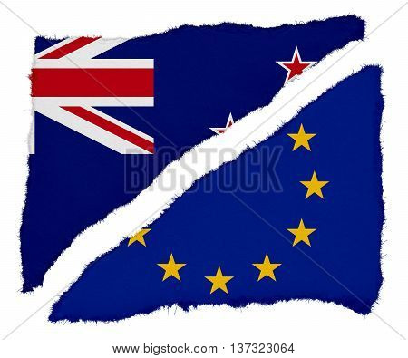 New Zealand And Eu Flag Torn Paper Scraps Isolated On White Background