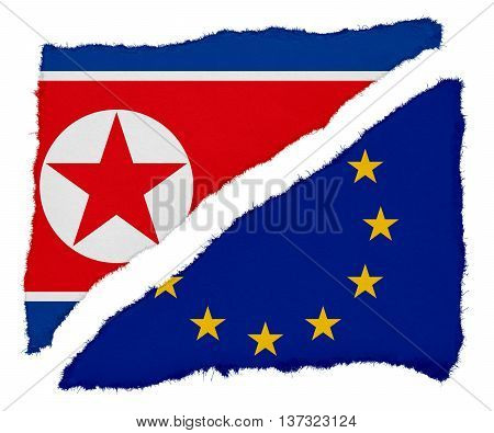 North Korean And Eu Flag Torn Paper Scraps Isolated On White Background