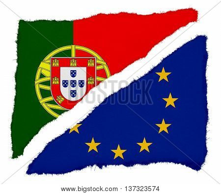Portuguese And Eu Flag Torn Paper Scraps Isolated On White Background