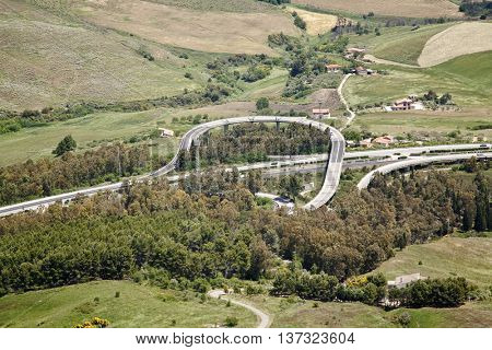 Enna motorway junction view from above, Sicily