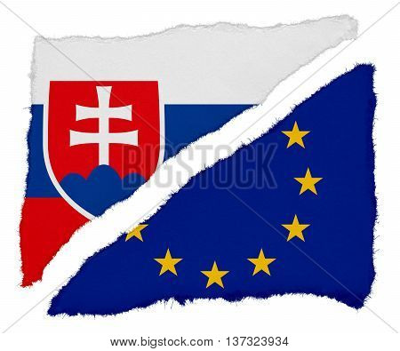 Slovakian And Eu Flag Torn Paper Scraps Isolated On White Background