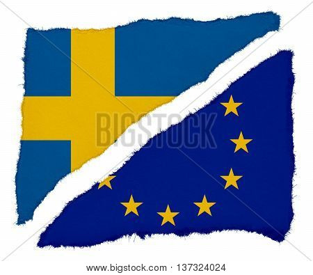 Swedish And Eu Flag Torn Paper Scraps Isolated On White Background