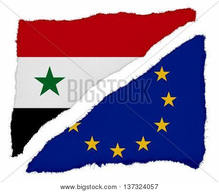 Syrian And Eu Flag Torn Paper Scraps Isolated On White Background