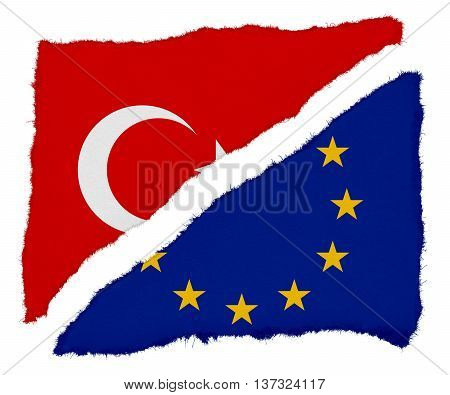 Turkish And Eu Flag Torn Paper Scraps Isolated On White Background