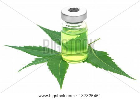 Neem leaves with vial extracted medicine over white background