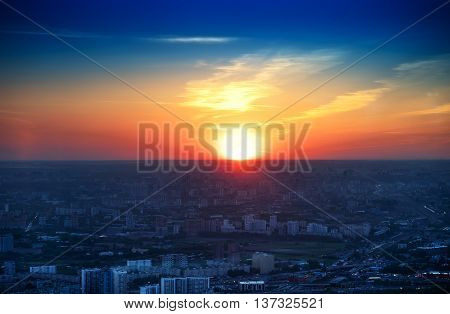 Moscow sunset from the top of tv tower background