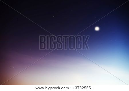 Horizontal glowing night moon with falling stars background