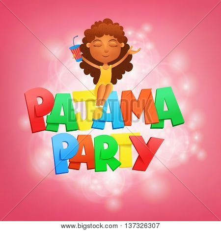 Pajama party lettering. Invitation card template with sitting girl. Vector illustration