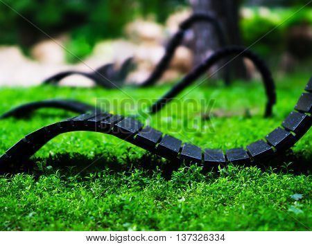 Horizontal vivid  curved deck-chair bokeh background backdrop