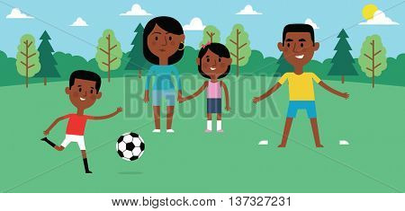 Illustration Of Family Playing Soccer In Park Together