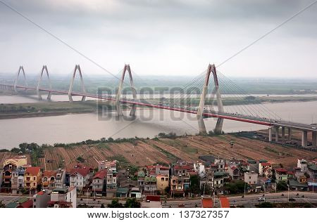 HA NOI, VIET NAM, September 2, 2015 Nhat Tan cable-stayed bridge, designed by architect, construction Japan, Hong River crossing, Ha Noi, Vietnam
