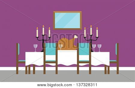 Background Illustration Of Empty Dining Room