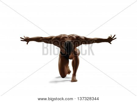 Muscular male standing on one knee, threw up his arms to the side. Isolated.