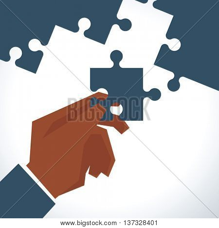 Illustration Of Businessman With Last Piece Of Jigsaw Puzzle
