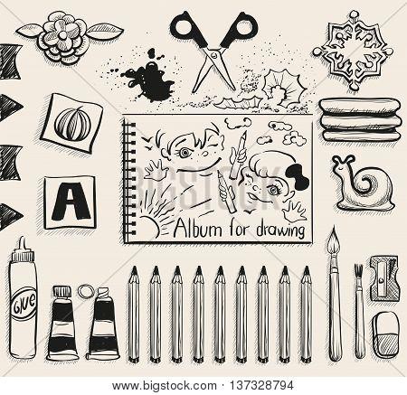 School office supplies top view. Scissors, album, pencils, glue, eraser, brush and smudge. Illustration in vector format