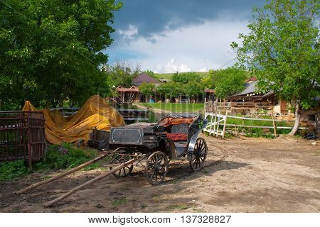 Old horse carriage in vilage in Moldova