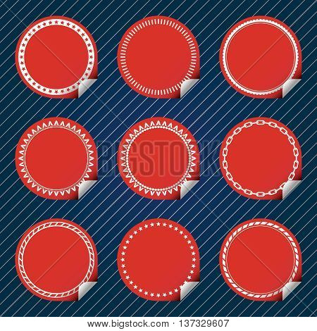 Plain Red Stickers with tab, different border style